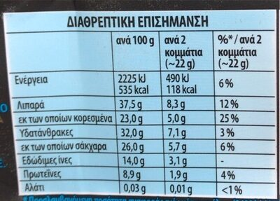 ΣΟΚΟΛΑΤΑ ΠΑΥΛΙΔΟΥ ΥΓΕΙΑΣ 70% - Información nutricional - el