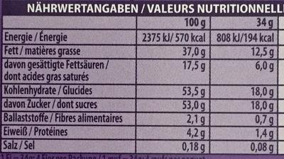 Löffel-Ei Kakaocrème - Nutrition facts