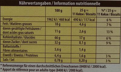 Mikado Zartherbe Schokolade - Nährwertangaben - de