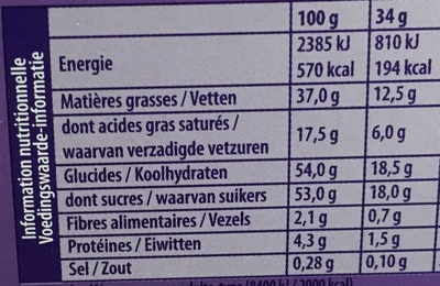 L'Œuf coque Cacao - Nutrition facts