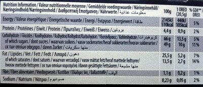 Oreo Enrobed White - Voedingswaarden - en