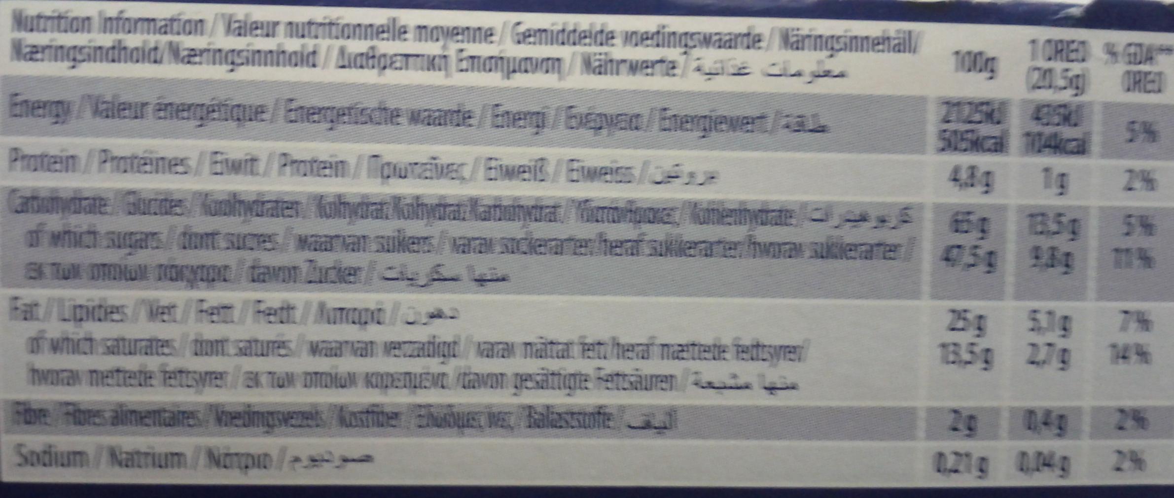 Oreo Milk Choc - Informations nutritionnelles