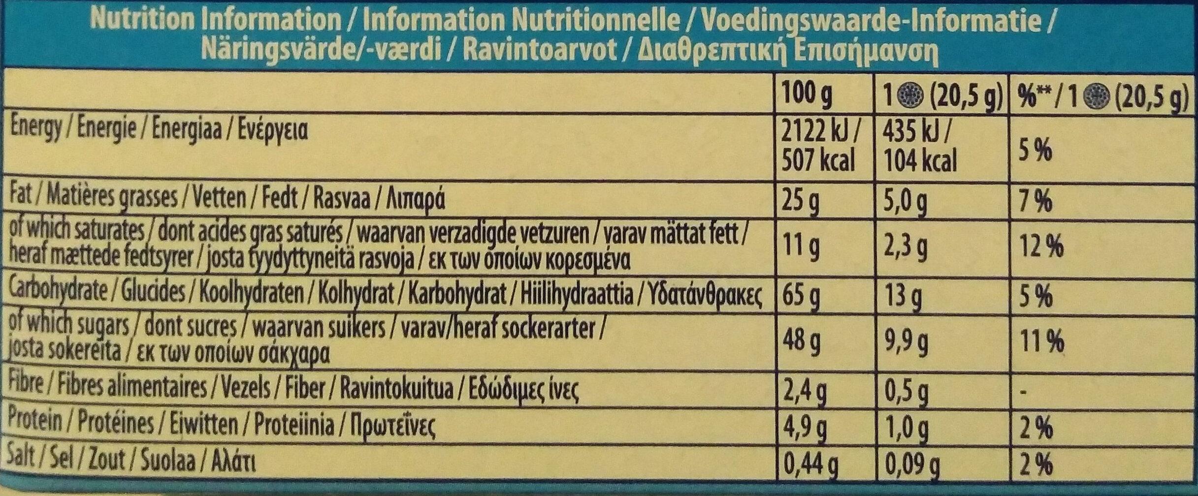 Milk Chocolate Covered Biscuits 6 Pack - Voedingswaarden - nl