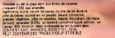 Oeufs de Pâques en chocolat au lait aux éclats de caramel croquant (10%) et amandes - Ingrédients