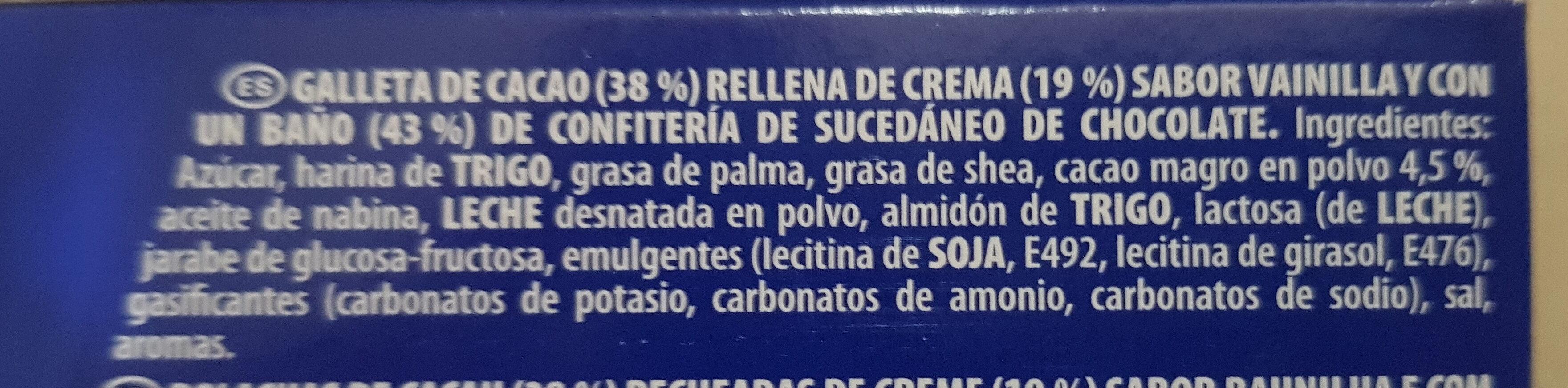 Oreo bañadas - Ingredientes - es