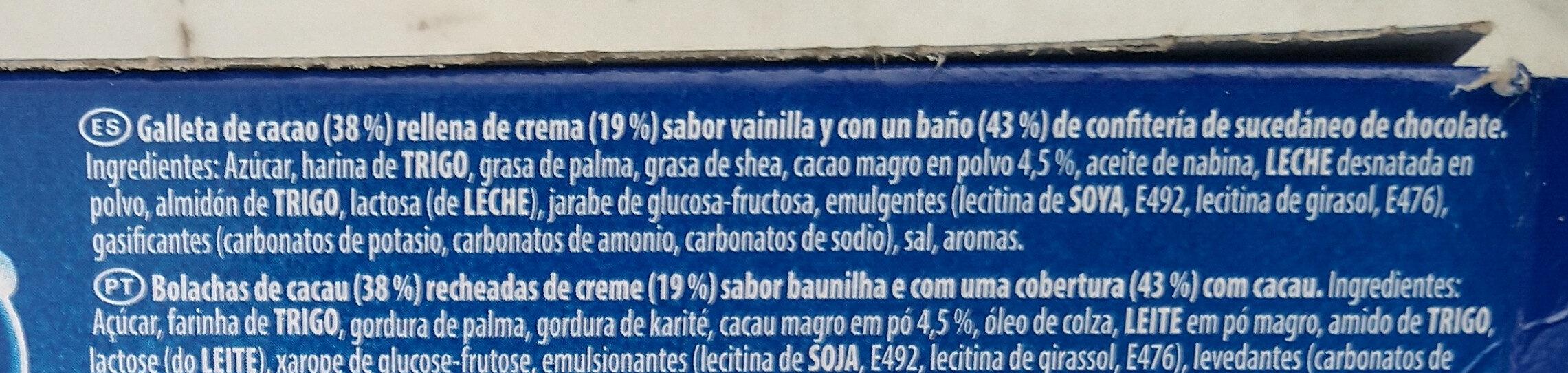 Oreo bañadas - Ingrediënten - es