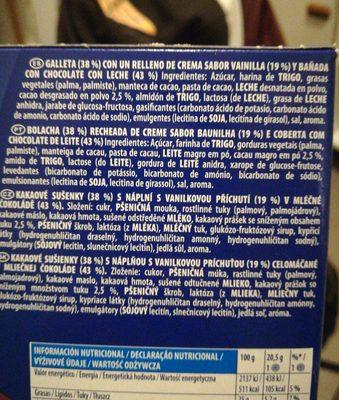 Oreo Bañadas - Cobertura de cacao - Ingrédients
