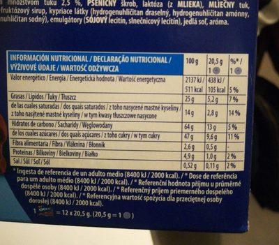 Oreo Bañadas - Cobertura de cacao - Informations nutritionnelles