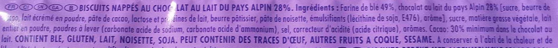 Choco Moo - Biscuits nappés au chocolat au lait du pays Alpin - Ingrédients - fr