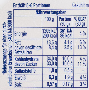 Philadelphia mit Milka - Nutrition facts