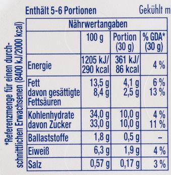 Philadelphia mit Milka - Nutrition facts - de