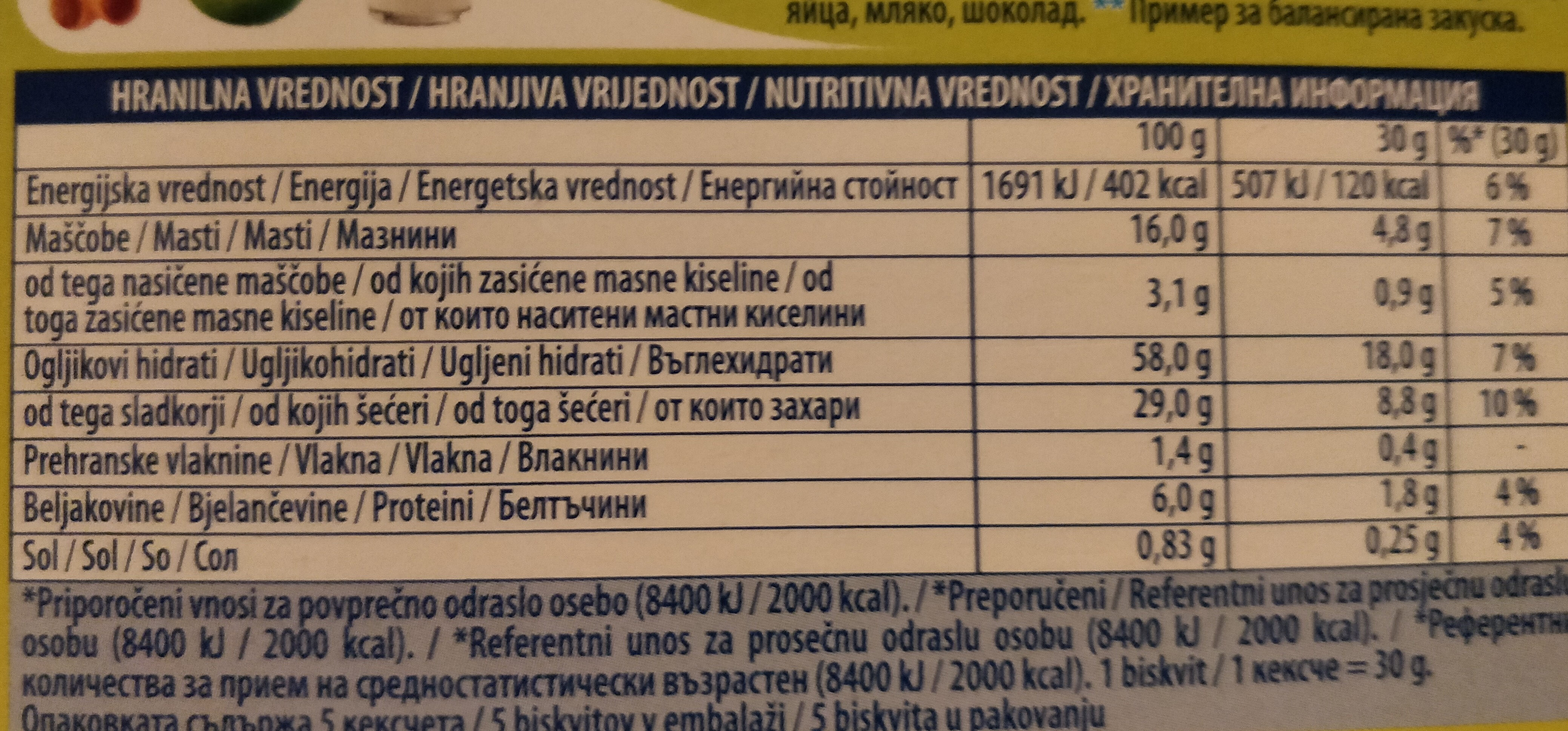 Biscuits Barni With Cocoa Creme - Informations nutritionnelles - fr