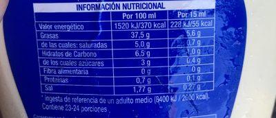 Kraft Salsa Sabor Tradicional - Información nutricional