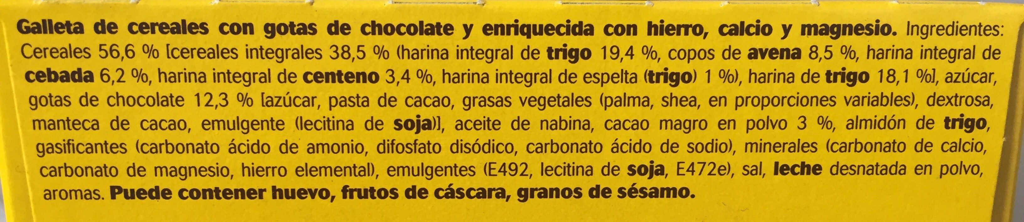 Galleta Belvita 5 Cereales Integrales Choco - Ingredientes - es