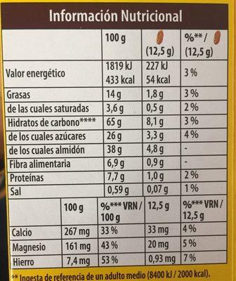 Galleta Belvita 5 Cereales Integrales Choco - Información nutricional - es