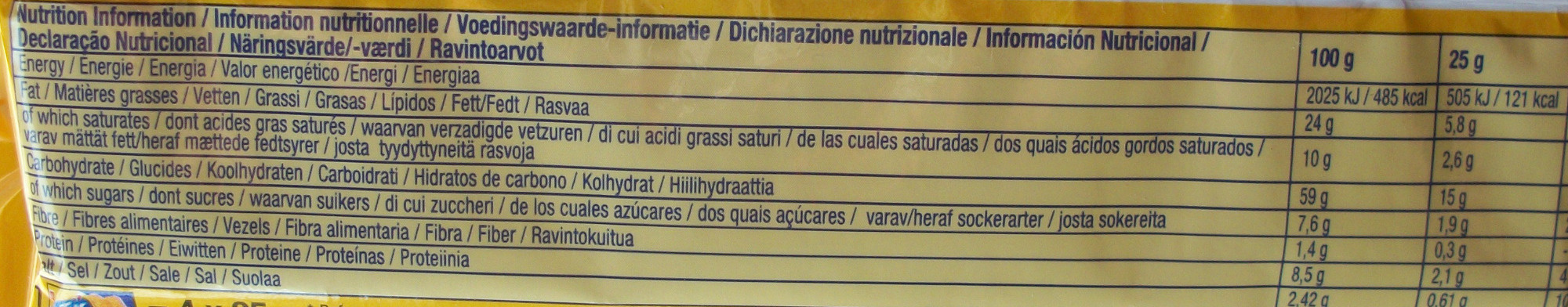 TUC gusto cheese - Informazioni nutrizionali
