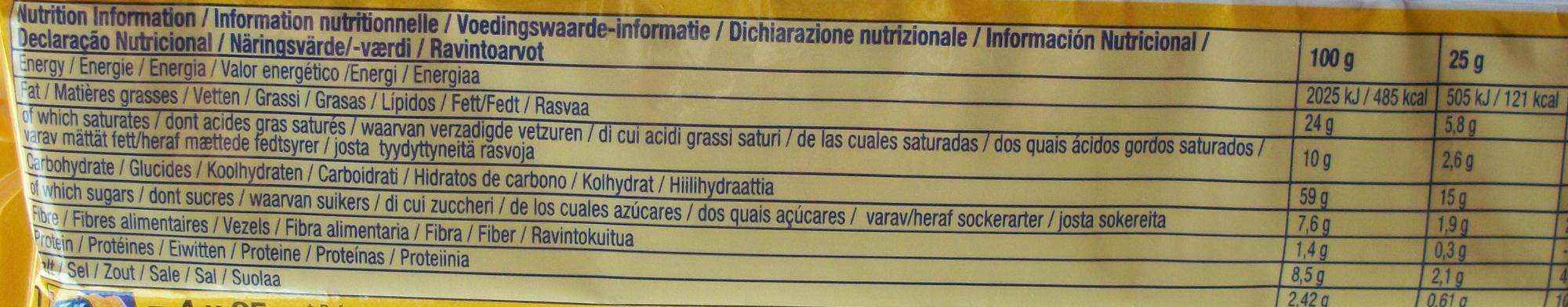 TUC gusto cheese - Informação nutricional