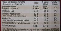 Palet intense Noir aux éclats de fèves de cacao - Informations nutritionnelles - fr