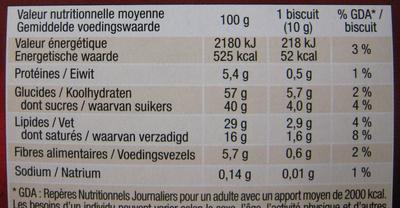 Palet intense Noir aux éclats de fèves de cacao - Nutrition facts - fr