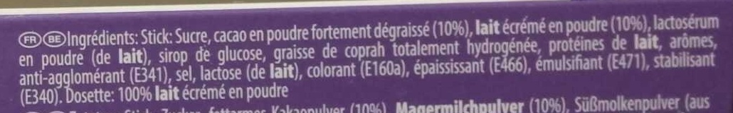 Dosettes Milka au lait - Ingredients - fr