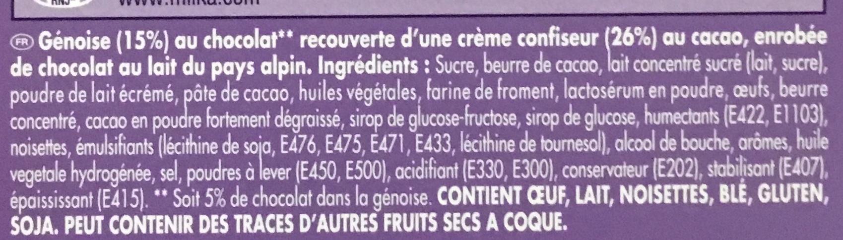 Tendres Moments Moelleux Chocolat - Ingrédients