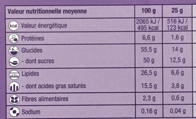 Tendres Moments Moelleux Chocolat - Informations nutritionnelles