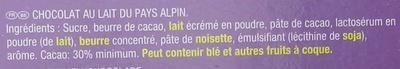 Mini Tablettes Au lait du Pays Alpin - Ingrédients - fr
