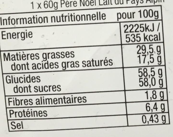 Assortiment de Noël - Nutrition facts