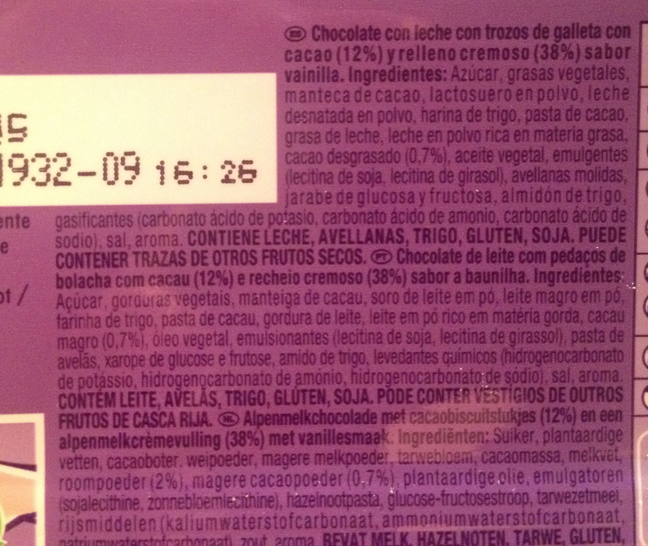 Milka chocolate oreo cookies and creme - Ingredienti