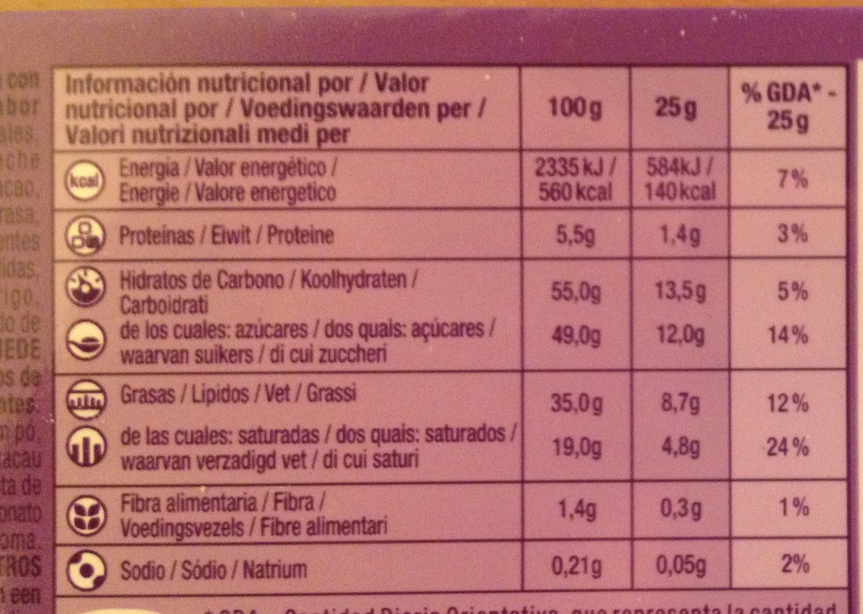 Milka chocolate oreo cookies and creme - Nutrition facts