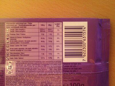 Milka & Oreo - Voedingswaarden - pt