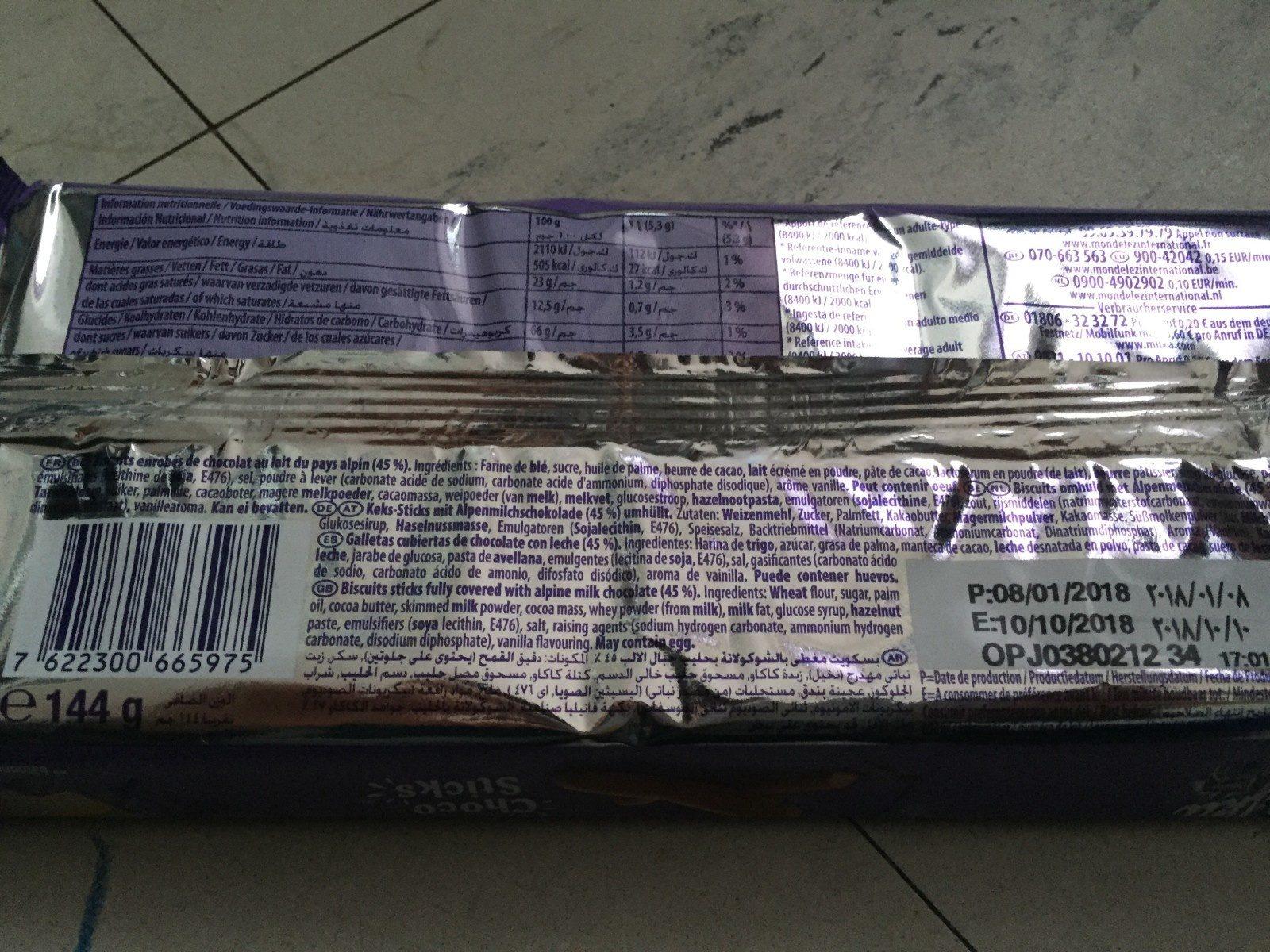 Choco sticks - Ingrédients - fr