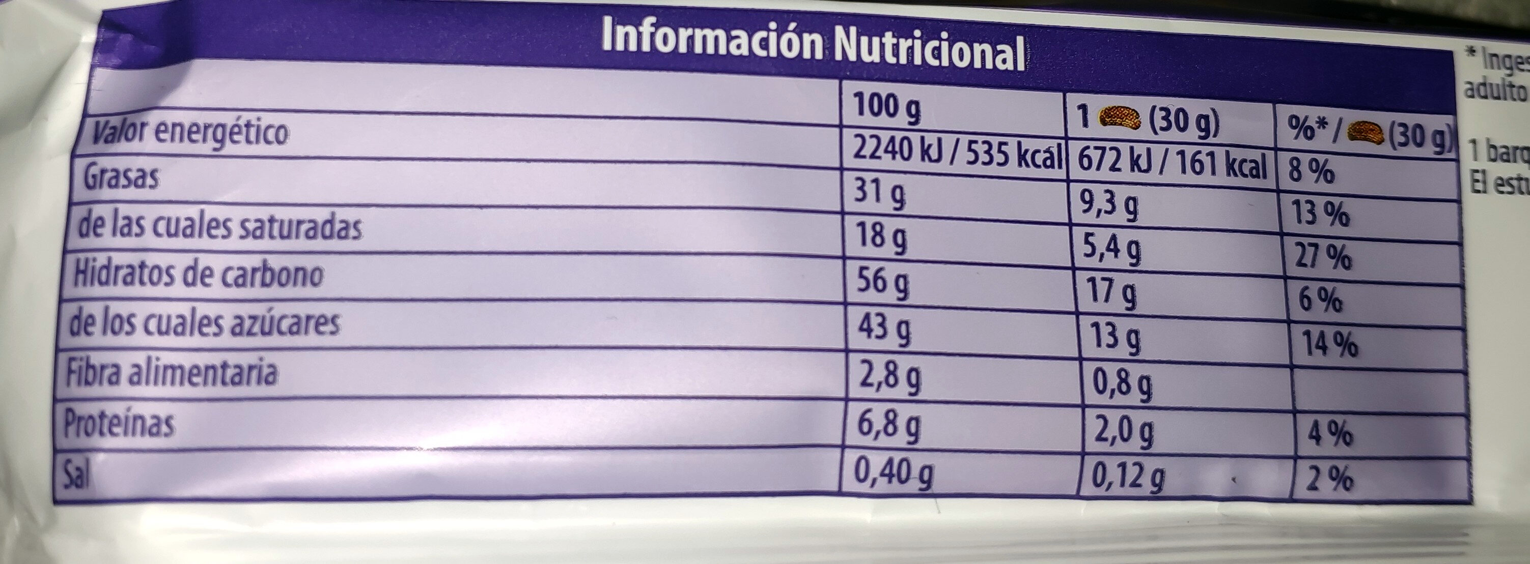 Choco Wafer - Nutrition facts - es