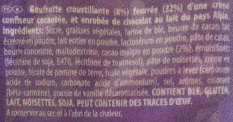 Milka - Crispello - Saveur Chocolat - Ingrédients - fr
