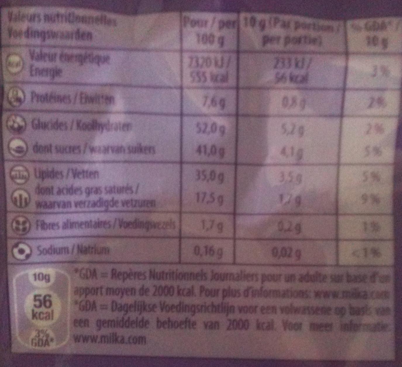 Milka - Crispello - Saveur Chocolat - Informations nutritionnelles - fr