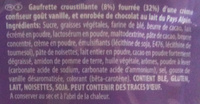 Milka - Crispello - Saveur Vanille - Ingrédients - fr
