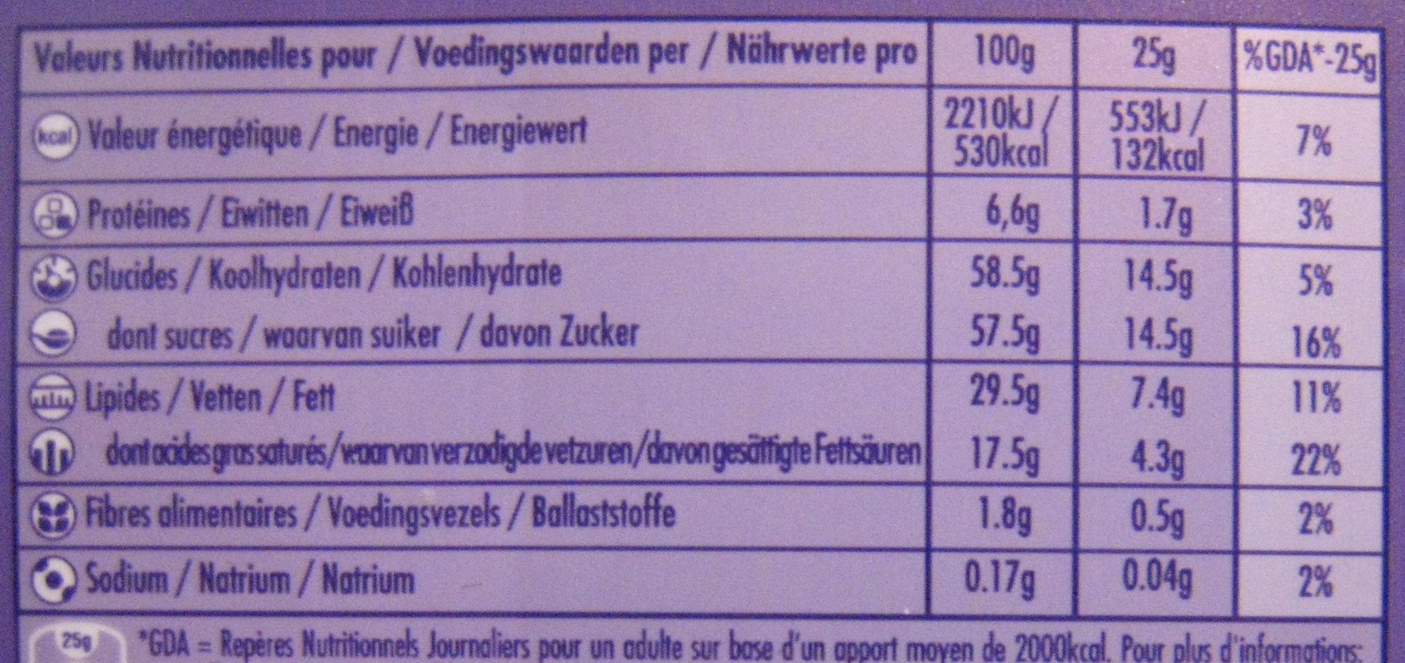 Chocolat au lait du pays alpin (Lot de 6) - Voedigswaarden