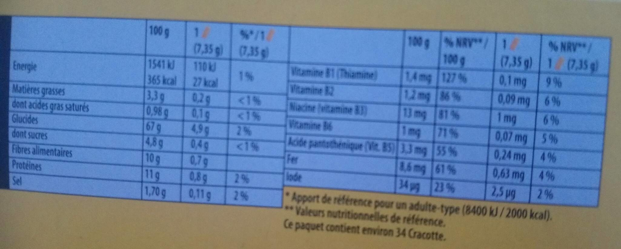 Cracottes fibres blé et seigle complets - Informations nutritionnelles - fr