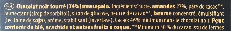 Chocolat Noir Pâte d'Amande - Ingrediënten - fr