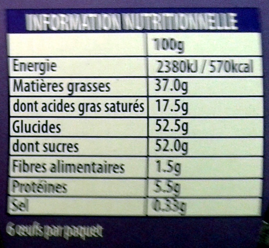 L'Oeuf Coque 3xLait 3xCacao - Nutrition facts