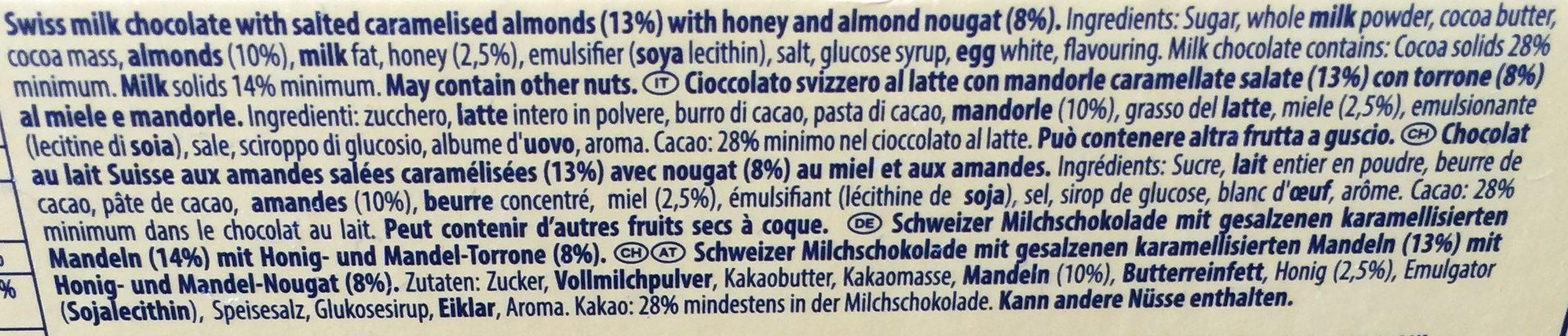Tobleron crunchy almonds - Inhaltsstoffe - en