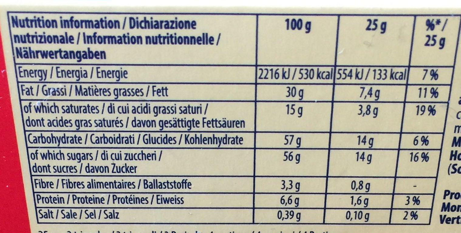 Tobleron crunchy almonds - Nährwertangaben - en