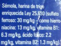 Terrabusi tallarin - Ingredientes - es