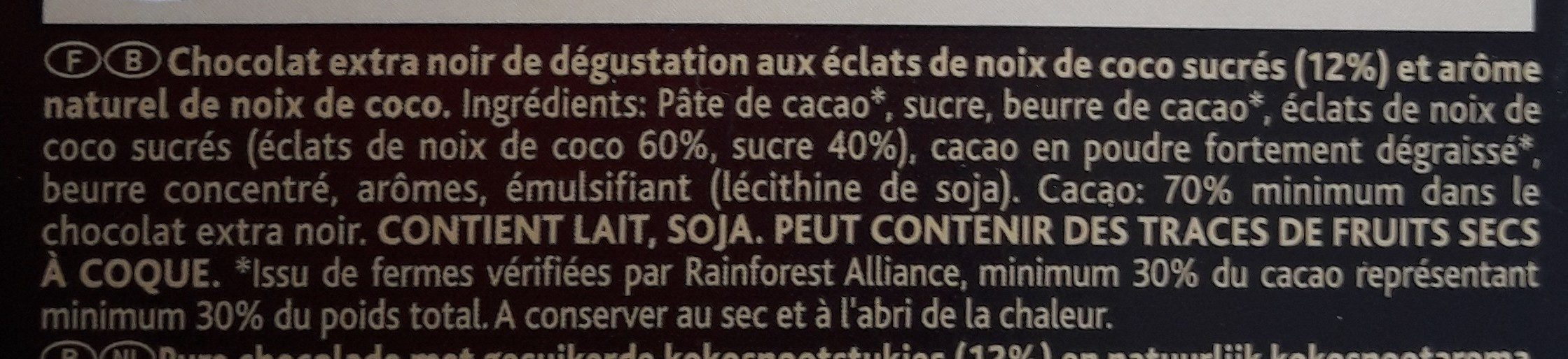 CHOCOLAT - Noix de coco - Noir 70% - Ingrediënten