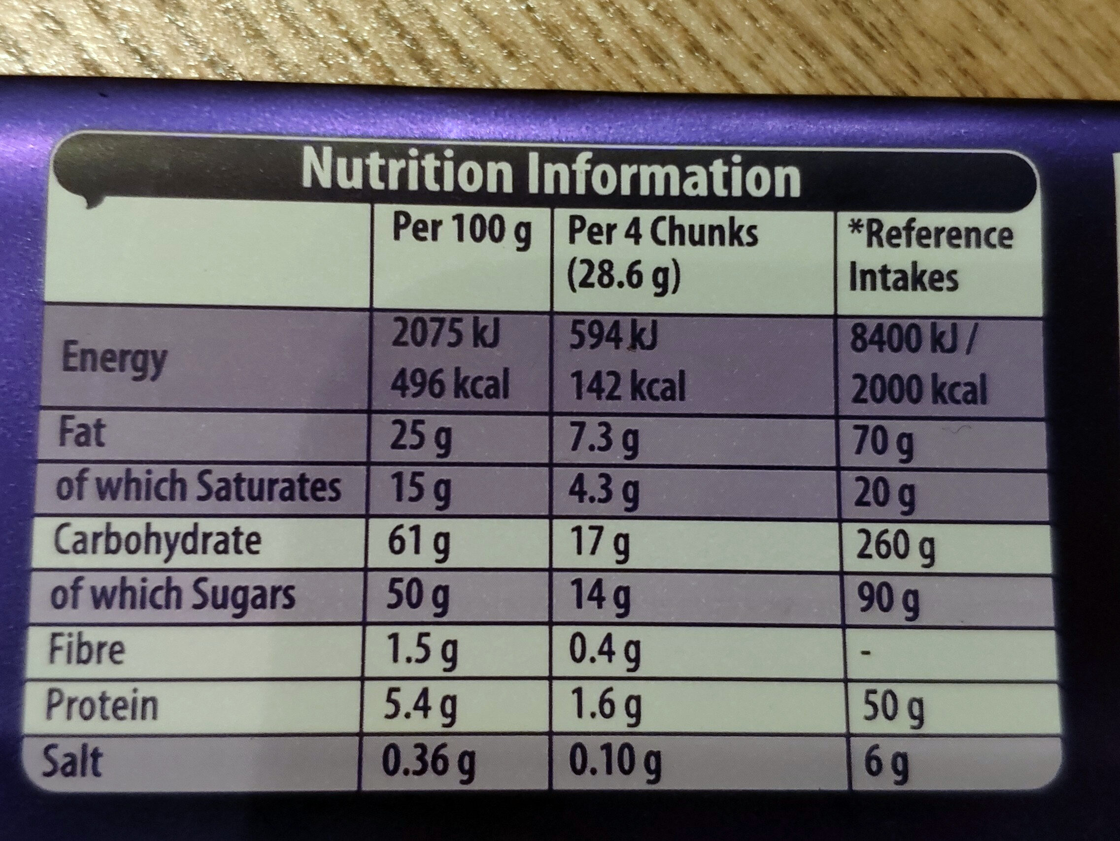 Dairy Milk Caramel - Nutrition facts - en