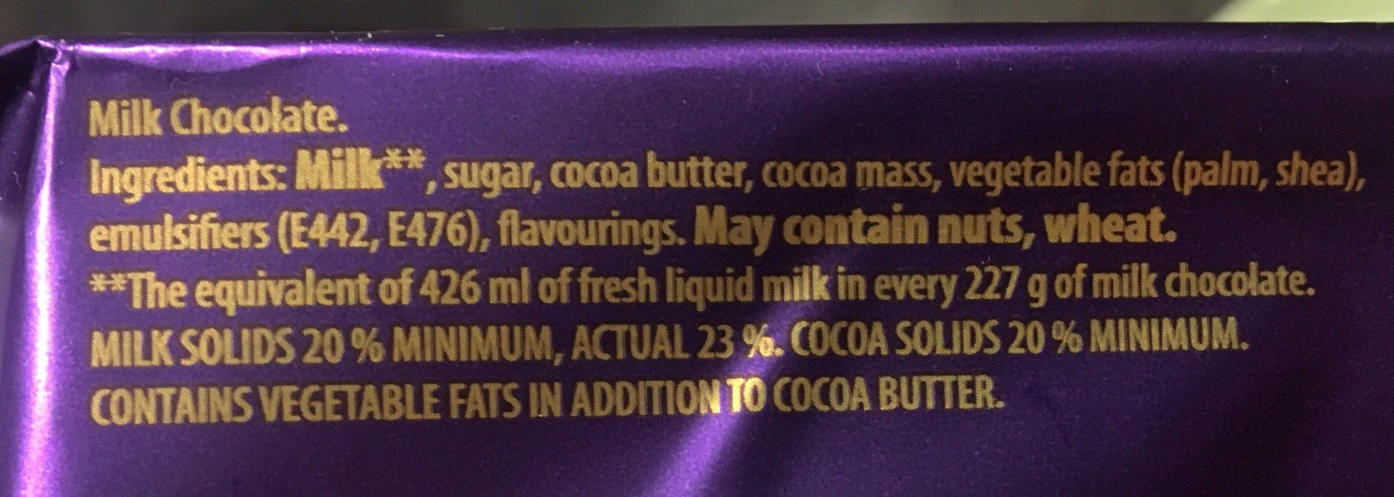 Dairy milk chocolate bar - Ingredients - en