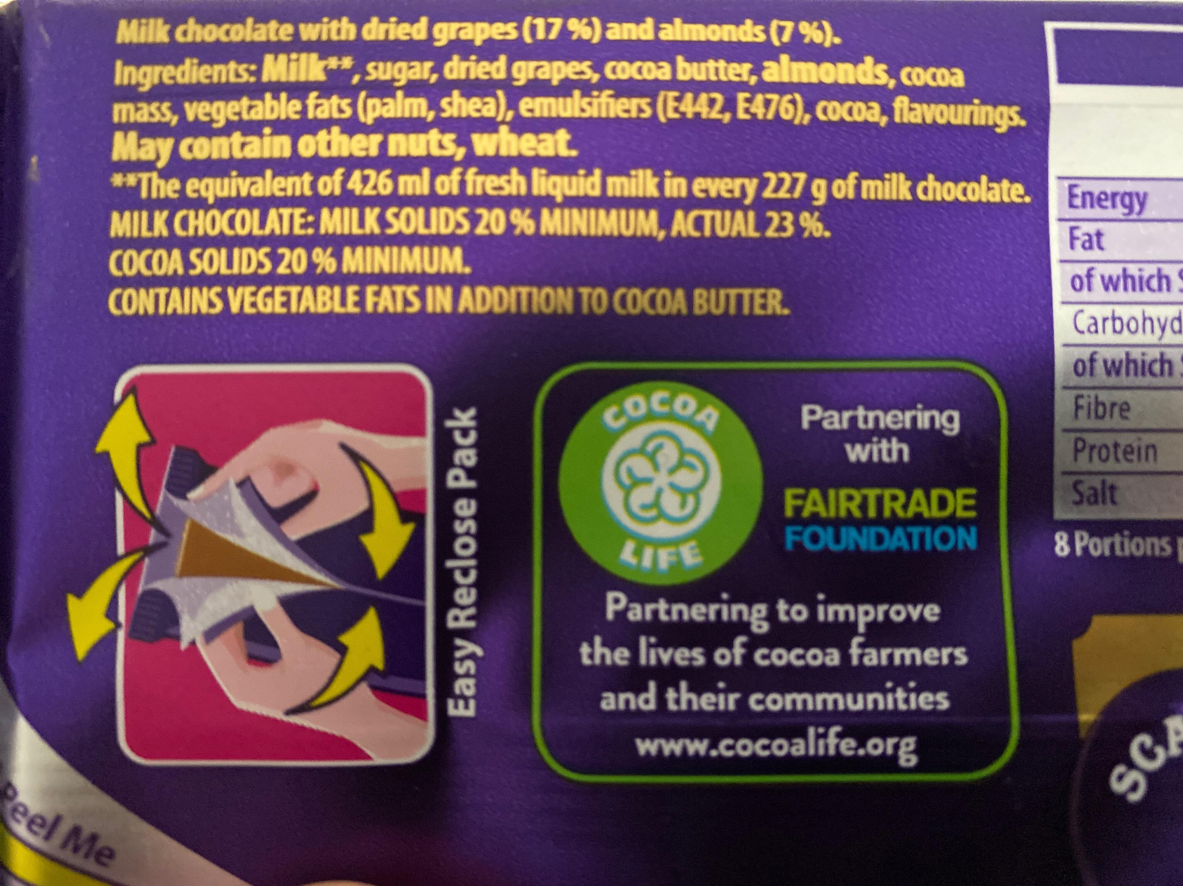 Dairy Milk Fruit and Nut Chocolate Bar - Ingredientes - en
