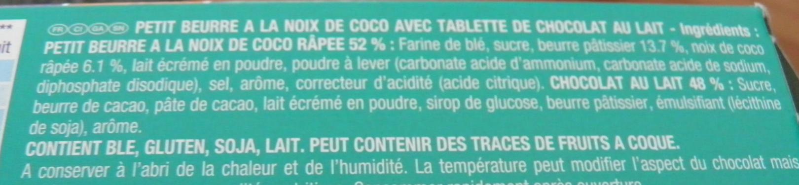 Véritable Petit Écolier Chocolat au Lait + Noix de Coco - Ingrédients - fr