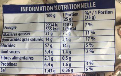 Crou'stilles - goût jambon fromage - Informations nutritionnelles