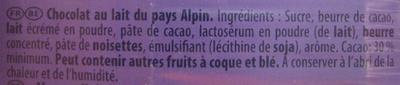 Chocolat au lait du pays alpin (Lot de 5) - Ingrédients - fr